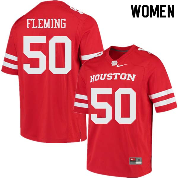 Women #50 Aymiel Fleming Houston Cougars College Football Jerseys Sale-Red